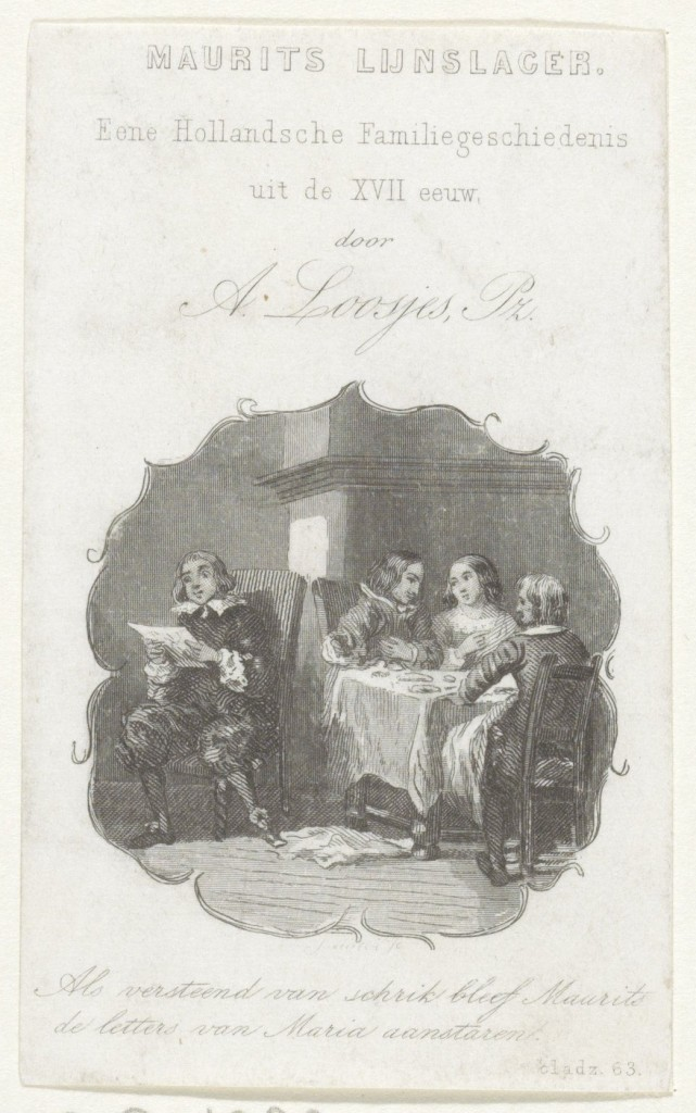 Mannen en vrouw aan tafel, onbekend, 1852 _RP-P-1982-1318D