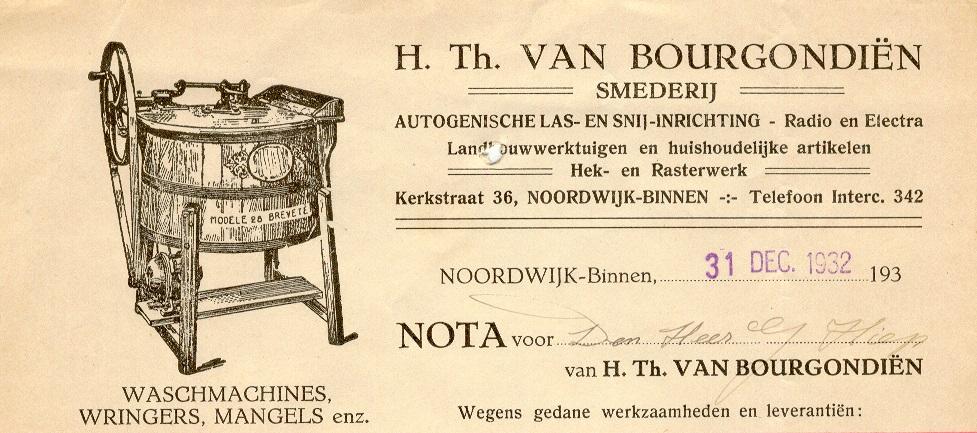 Kop van een rekening van Hendricus Theodorus van Bourgondiën uit 1932 (coll. M. van Bourgondiën)